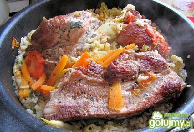 Żeberka duszone z risotto