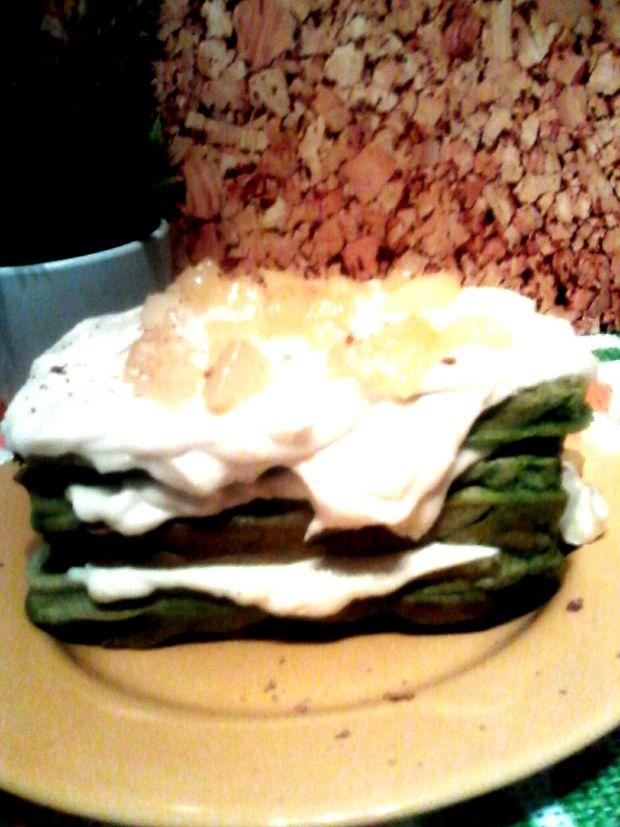 Zielone gofry z ricottą i białą czekoladą