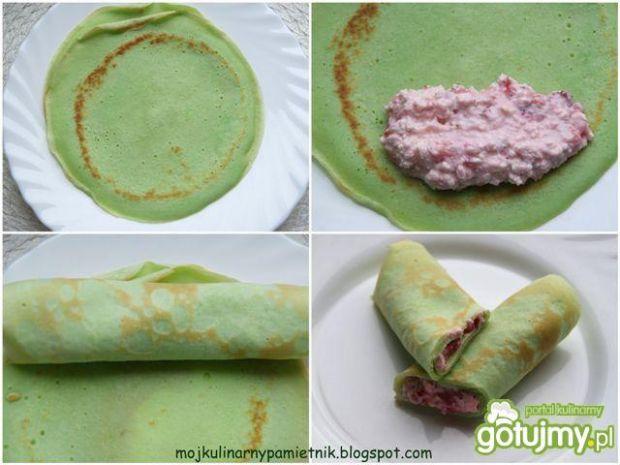 Zielone naleśniki z truskawkami