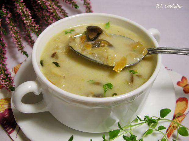 Zupa grzybowo pieczarkowa z zacierkami