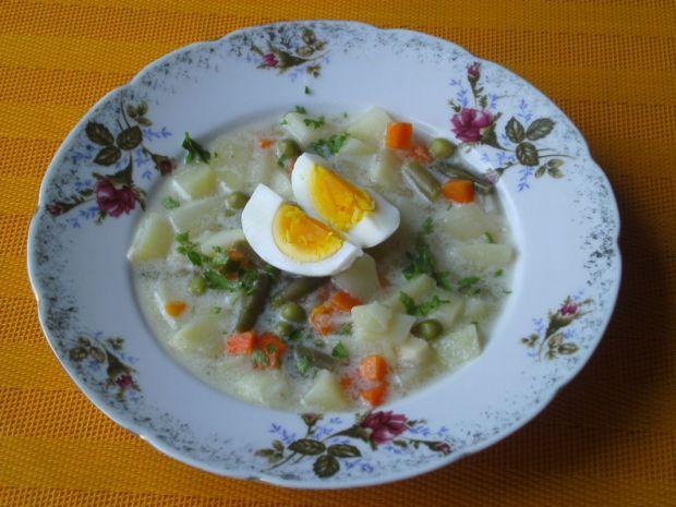 Zupa jarzynowa z jajkiem i śmietaną