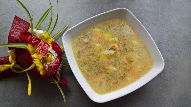 Zupa ogórkowa z białą rzodkwią na żeberkach