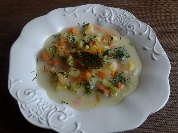 Zupa ogórkowo kapuściana z ziemniakami