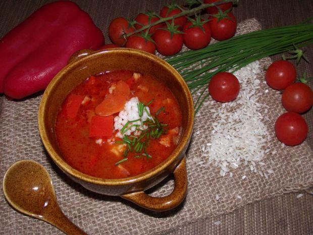 Zupa paprykowa z ryżem
