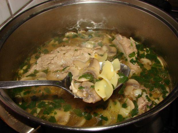 Zupa pieczarkowa z grubym makaronem