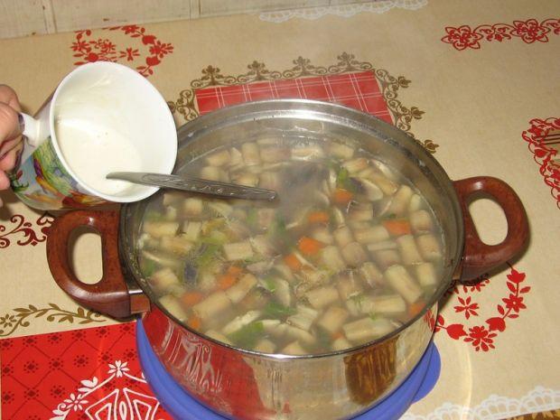Zupa pieczarkowa z porem i ryżem