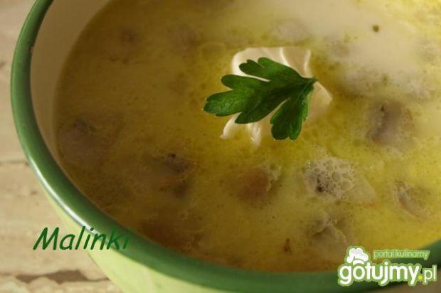 Zupa serowa z ryżem i pieczarkami