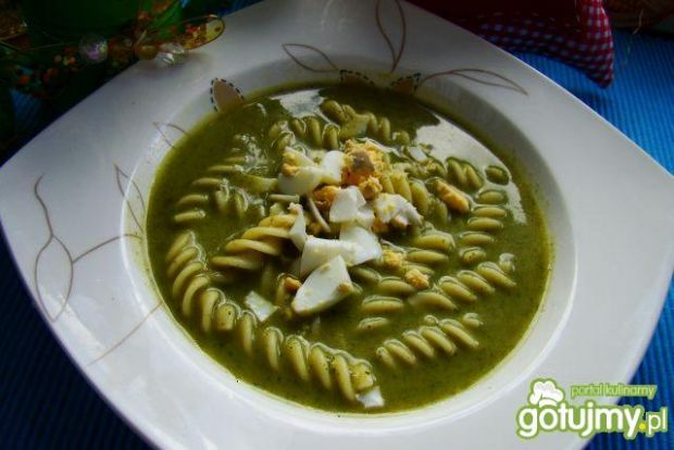 Zupa Shreka - szpinakowa z makaronem