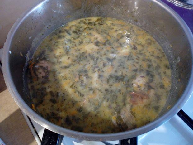 Zupa szczawiowa z patisonem i kurczakiem