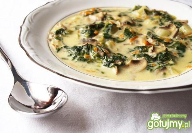 Zupa szpinakowo - pieczarkowa