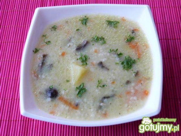 Zupa z kaszą perłową i grzybami