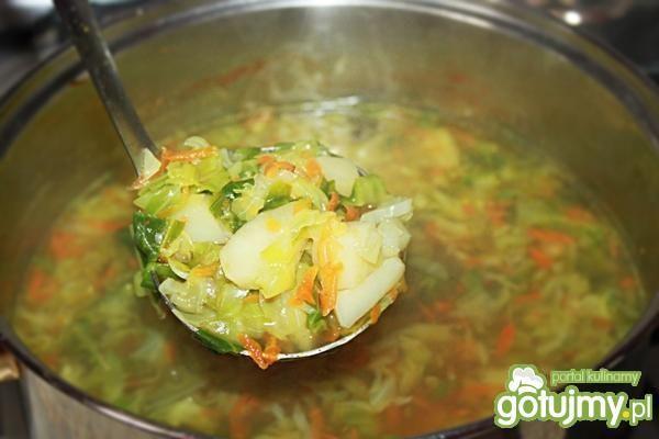 Zupa z młodych warzyw -kapuściana