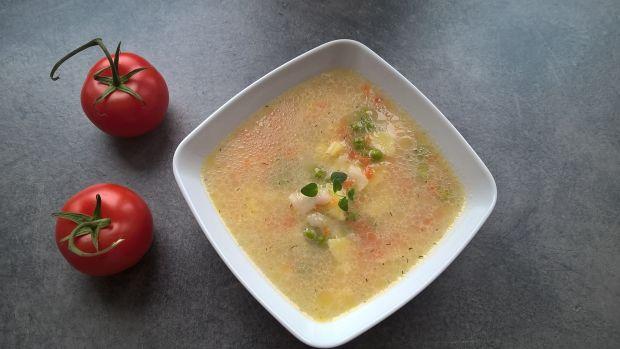 Zupa z zielonego groszku z łazankami