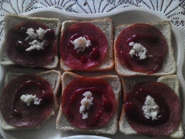 Zwykłe tosty z salami z sosami