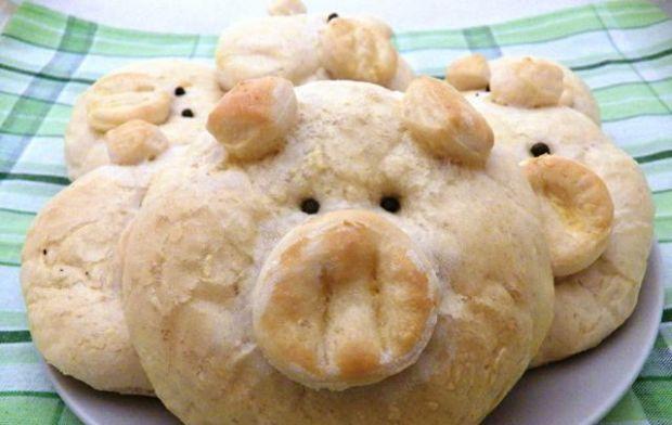 Bułeczki świnki ze szpinakiem