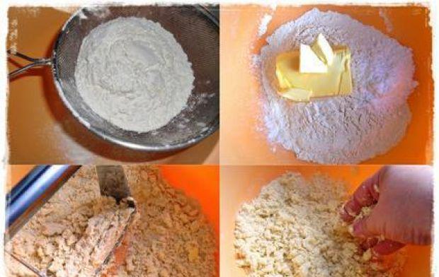 Ciasto kruche z jabłkami i bezą - Kolejne etapy przygotowania kruchego spodu.