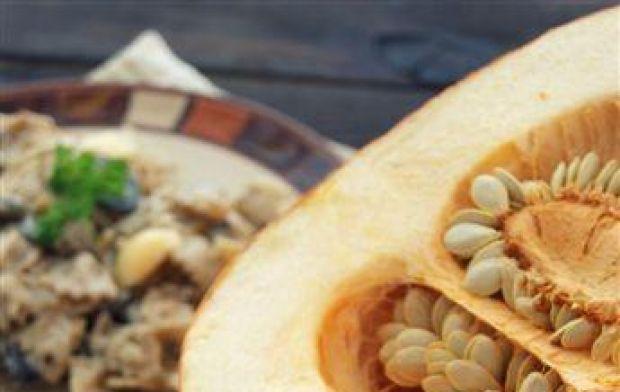 Kremowy makaron z dynią i grzybami