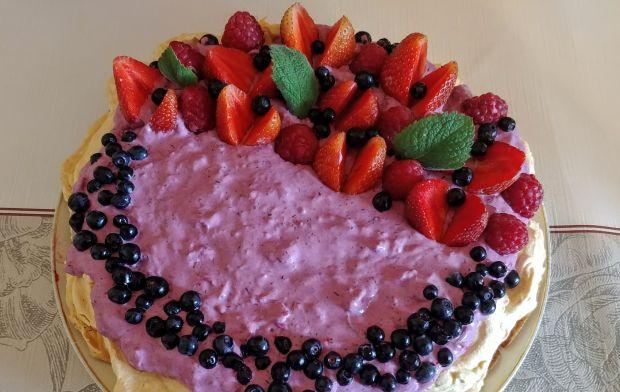 Tort bezowy jagodowo-truskawkowy (bez cukru)