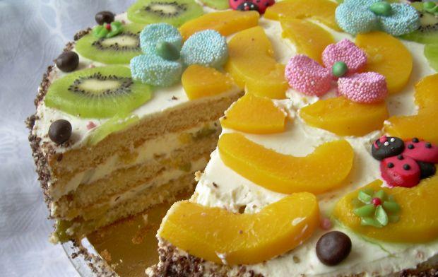 Tort brzoskwiniowo-śmietanowy -nuta agrestu i kiwi
