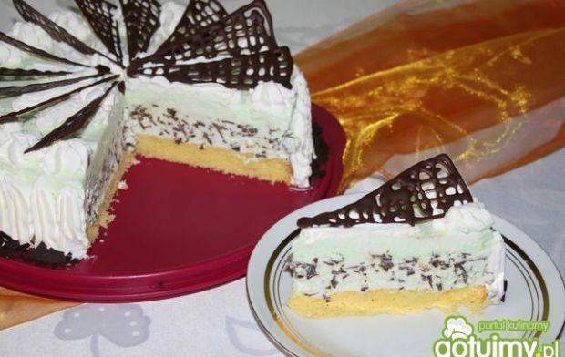 Tort lodowy cytrynowo-miętowy zczekoladą
