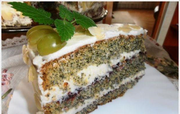 Tort makowy z białą czekoladą