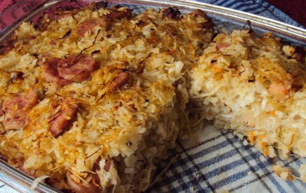 Zapiekanka ryżowa z kapustą kiszoną