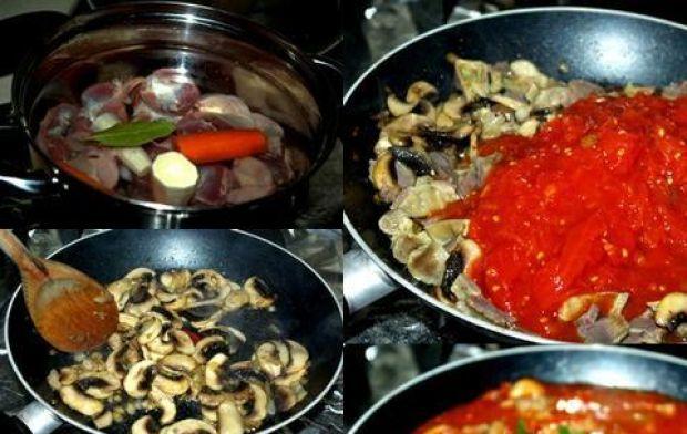 Żołądki drobiowe  w pomidorach